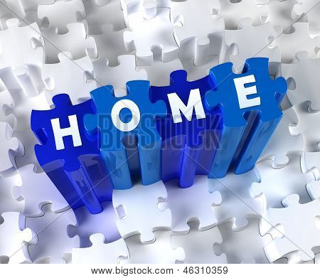 Creative 3D pieces of puzzle and word Home