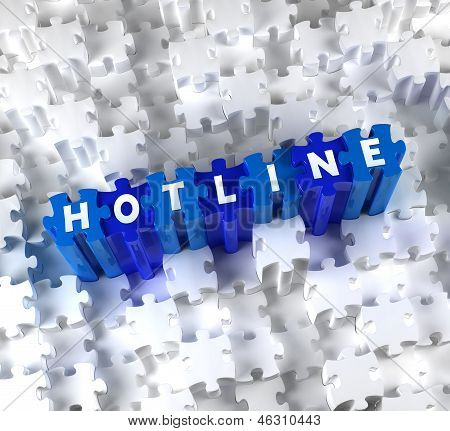Creative 3D pieces of puzzle and word Hotline