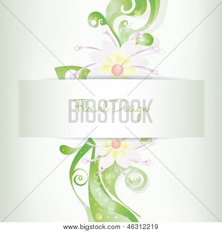 vector floral card invitation, blooming flowers