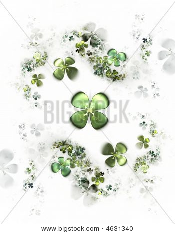 Abstract illustration of a four-leafed clovers field on white background poster