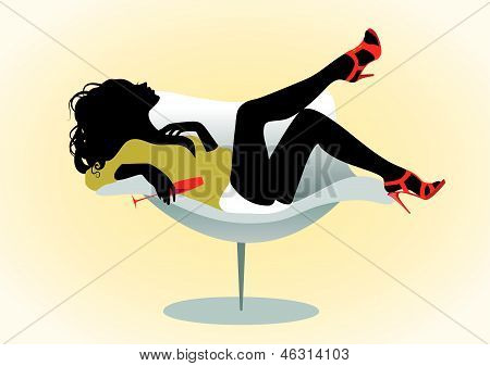 Girl On Chair With Wineglass
