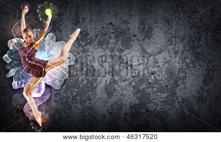Girl dancing in a color dress with a gray background. Collage