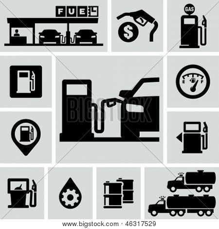 Fuel pump, gas station icons