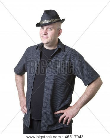 Middle aged man with hat