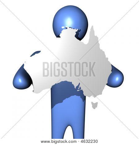 Man Holding Australia Map Sign