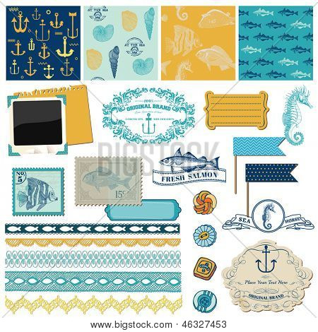 Scrapbook Design Elements - Nautical Sea Theme - for scrapbook and design in vector