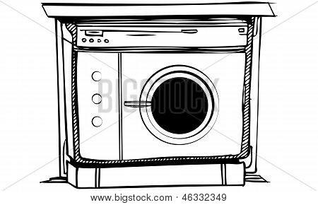 Isolated Vector Illustration of Laundry Washing Machine