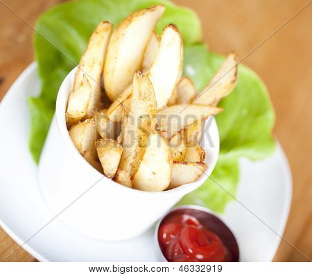 Potato Wedges On Plate