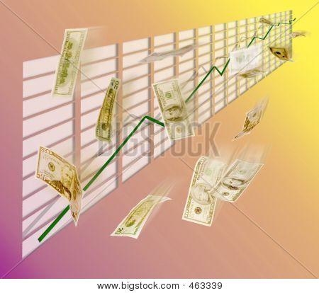 Graph Showing Increase W/ Flying Dollar Bills