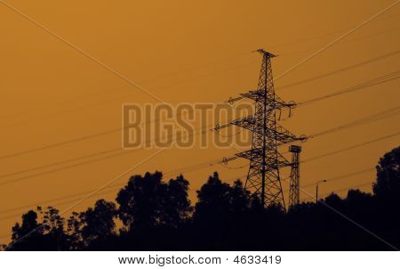 High-voltage Transmission Tower At Hydro Power Station