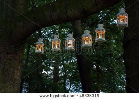 Iluminación de la noche de fiesta al aire libre