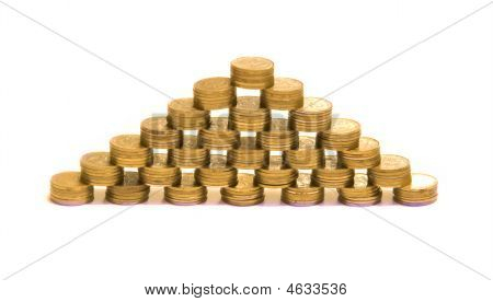 Pyramid Made Of Piles Of Coins
