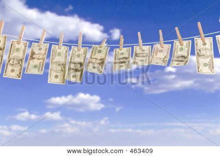 Money On Clothes Line Windy Sky