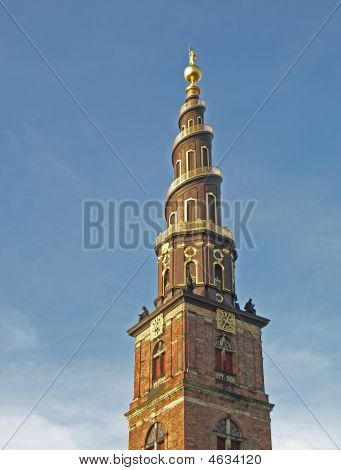 spire of The Church of Our Saviour in Copenhagen Denmark poster