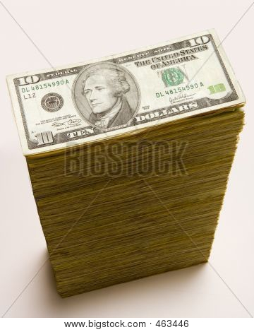 Cash Stack Of 10 Dollar Bills