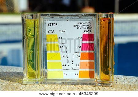 Pool chemical testing kit.