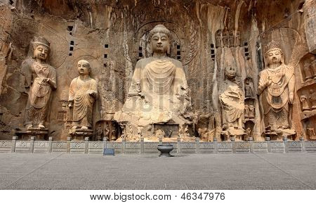 Longmen Grottoes with Buddha's figures are Starting with the Northern Wei Dynasty in 493 AD. It is one of the four notable grottoes in China. poster