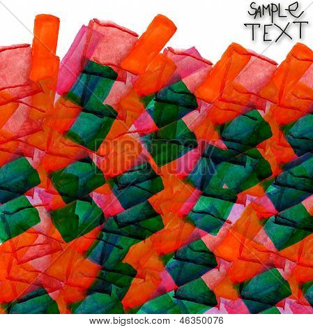 background art hand orange green watercolour brush texture isola