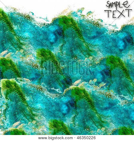 background hand  art watercolour blue green brush texture isolat