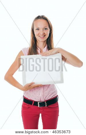 Happy Girl Holding Blank Sign. Isolated On White Background.