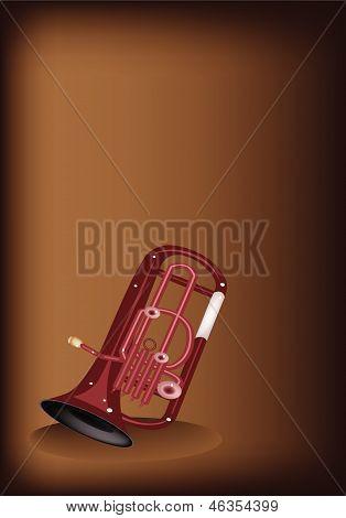 A Musical Euphonium On Dark Brown Background