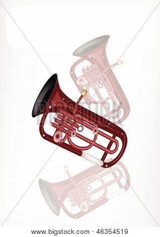 A Musical Euphonium With A White Banner