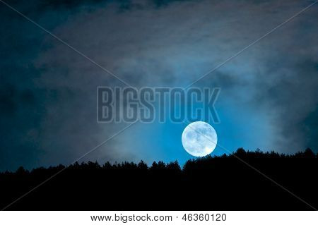 Moonrise Above The Trees, Camarda, Abruzzo, Italy