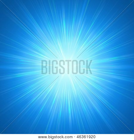 abstract background blue star with shining light rays poster