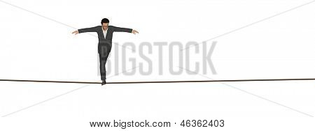 High resolution concept or conceptual 3D human male or businessman walking on rope isolated on white horizontal background banner