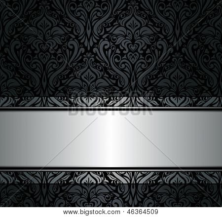 Black  & Silver Vintage Wallpaper