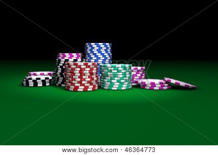 Gambling casino chips stacked on green table. Great background for poker magazines banners webpages flyers etc. poster
