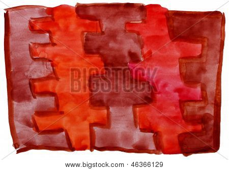 art brown, red, vanguard watercolor isolated for your design