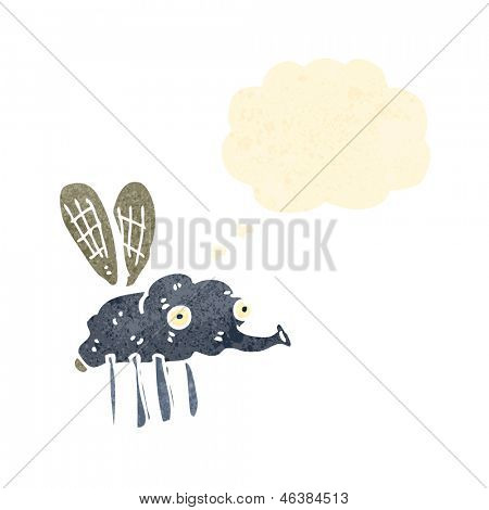 retro cartoon gross fly with thought bubble