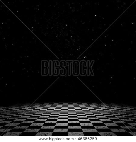 Night Sky And Checkered Floor