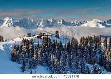 Ski Restaurant On The Mountain Peak Near Megeve In French Alps, France