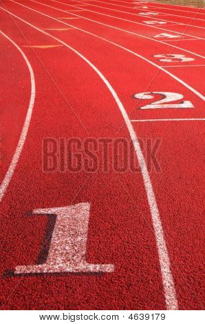 Track Field Rounding First Curve Lane Numbers
