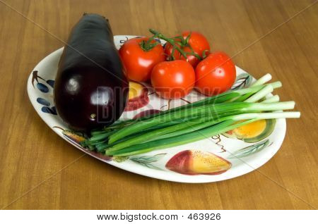 Selection Of Fresh Vegetables On A Plate. 1