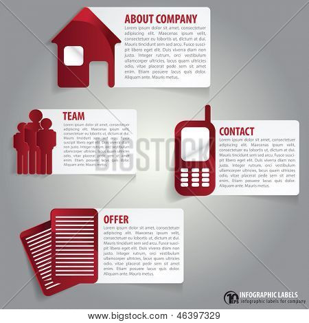 Vector abstract infographic labels with a description for company