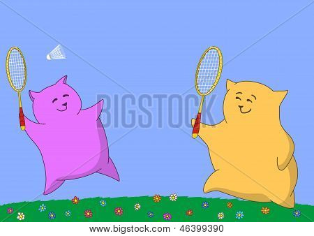 Two pillows playing badminton