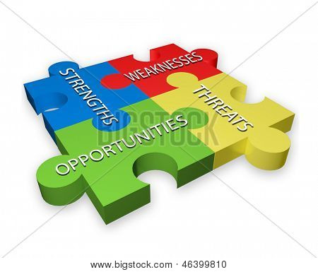 SWOT illustration of colorful puzzle pieces