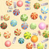 Seamless background of top view of many umbrellas and deck chair (sunbed)footprints on beach. poster