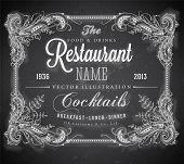 Vintage frame with floral ornament with grunge background for restaurant name design. Chalkboard art. Black illustration variant. poster