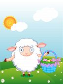 Cute lamb holding Easter basket in the field with blue sky and sun background poster