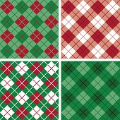 Four seamless argyle and plaid patterns in holiday colors. poster