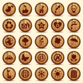 Wood Ecology icons set. Green Environment Symbols