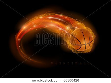 Basketball ball in flames and lights against black background. Vector illustration.