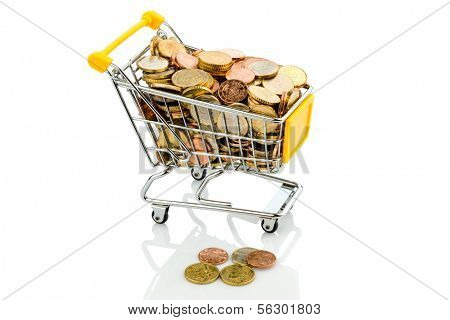 a shopping cart is well stocked with euro coins, symbolic photo for purchasing power and consumption