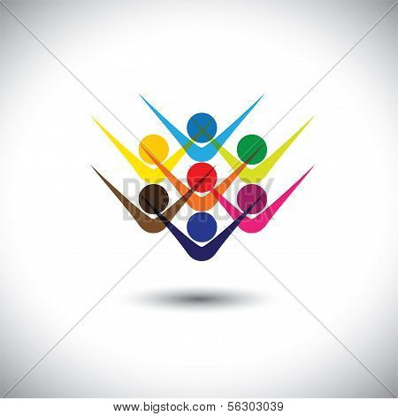 Colorful abstract concept vector happy excited people or children. This graphic illustration can also represent happy employees & staff kids playing elated friends people partying etc poster
