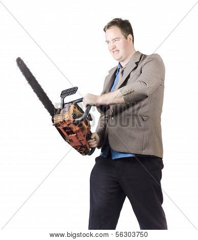 Angry Man In Business Attire Holding Chainsaw