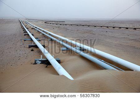 Oil Pipeline In The Desert Of Qatar
